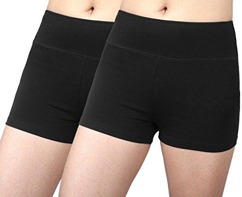 Neonysweets Womens Workout Yoga Short Pants Exercise Gym Shorts 2 Pack Black L