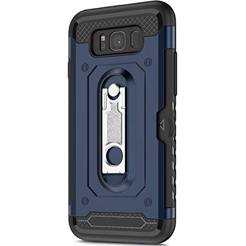 KunyFond Support Mobile Carte Credit Deux en un Gel Housse Étui Armure 2 en 1 Souple Flexible Mince PC+TPU Anti-chute Etui Bumper Case Cover Couverture Coque Compatible Samsung Galaxy S8 Plus-Bleu