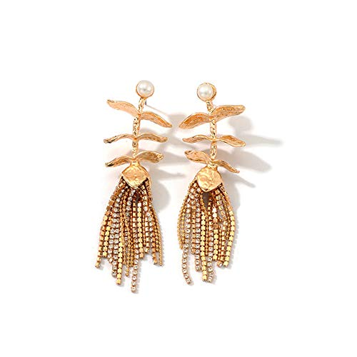 SION GOGO Adecuado para regalos, adecuado para fiestas, pendientes largos de diamante de metal con diseño de hojas, 1 par