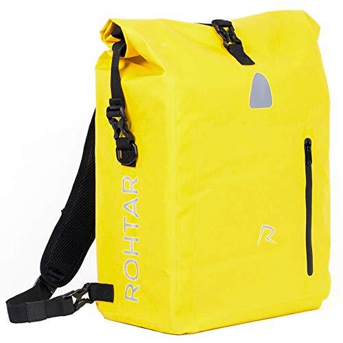 Rohtar 3in1 Fahrradtasche - wasserdicht & reflektierend - als Gepäckträgertasche, Umhängetasche & Rucksack einsetzbar - ideale Gepäcktasche fürs Fahrrad - 18L/25L (schwarz/gelb/rot) - (Gelb, 18L)