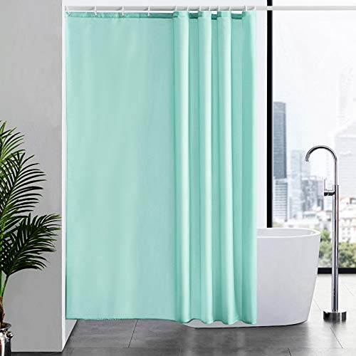 Furlinic Duschvorhang Anti-schimmel Wasserdicht Waschbar für Dusche Badewanne Textil Badvorhang aus Polyester Stoff Grün 180x200 mit 12 Duschringen.