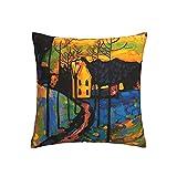 Ahdyr Pinturas Wassily Kandinsky Throw Pillow Covers 18x18 Funda de cojín Cuadrada Funda de Almohada Decorativa para el hogar para sofá Cama de Camping