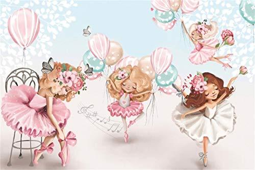 YEELE 5x3ft Ballerina Photography Backdrop Sweet Dancing Girls in Tutu Dress Background Girls Birthday Party Decoration Infant Newborn Photos Baby Shower Artistic Portrait Photobooth Props Wallpaper