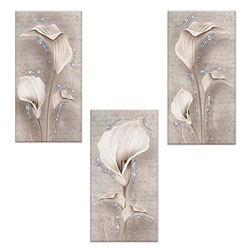 Lupia Set 3 Pezzi Quadri su Tela Tema Floreale Canvas Day Brillant con Glitter 38x75 cm Calle Shabby