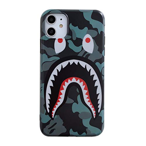 iPhone 11 Street Fashion Shark Face Soft Case,IMD Tech Sleek Texture Anti-Scratch Ultra-Thin Shockproof Case for iPhone 11 6.1inch (Camo Green)