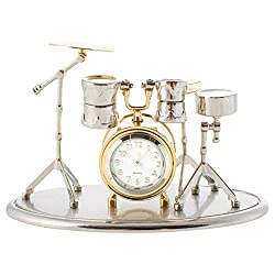 Broadway Gift Drum Set Shaped Silver and Goldtone 4 x 3 Decorative Table Top Clock