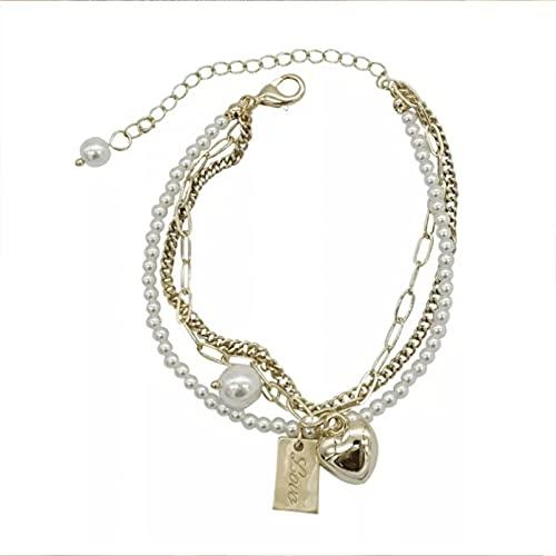 Pulseras pearl love pulsera multicapa personalidad de las mujeres simple decoración de la mano temperamento pulsera de lujo avanzada Pulsera de la amistad Regalos para mamá, esposa, novia.