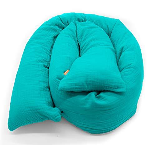 Mizali - Bettschlange 300 cm - mit Reißverschluss - abnehmbarer Musselin Bezug - waschbar - Bettumrandung Babybett Nestchen Kantenschutz Kinderbett (300 cm, Petrol)