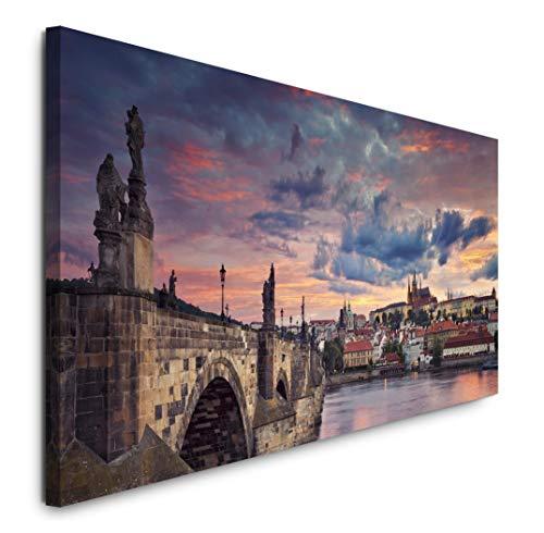 Paul Sinus Art GmbH Prag Skyline 120x 50cm Panorama Leinwand Bild XXL Format Wandbilder Wohnzimmer Wohnung Deko Kunstdrucke