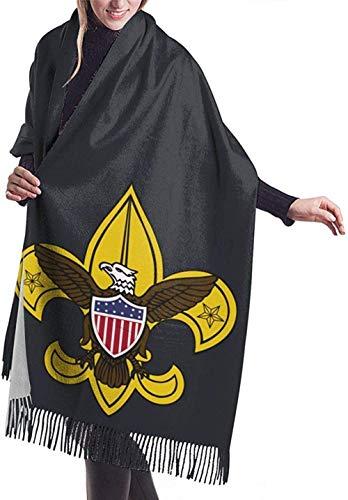 PINGZIJIA Chal de abrigo Bufandas grandes Bufanda de flecos Boy Scouts Of America Bufanda de abrigo de mantón largo de cachemira de cachemira con flecos 77 x 27