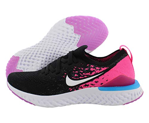 Nike Girls' Big Kids Epic React Flyknit 2 Running Shoes (6, Black/Racer Pink)