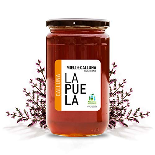 LAPUELA Miel de Calluna. Miel tradicional de origen natural desde Asturias - Aroma floral, intenso y persistente (750 gr)