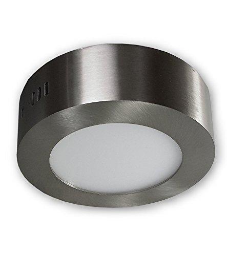 LED Aufbauleuchte Aufbauspot 6W warmweiß 2800K | Moderne Panel Deckenlampe aus Aluminium | Aufbaustrahler rund 230V Edelsthal Optik | Deckenleuchte Deckenspot Aufputz alu gebürstet |