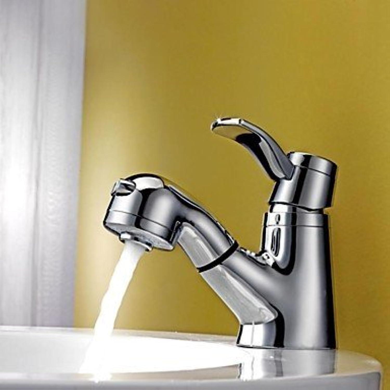 YI KUI Küchen Wasserhahn Zeitgenssisch Mittellage Mit ausziehbarer Brause with Keramisches entil Einhand Ein Loch for Chrom, Waschbecken Wasserhahn