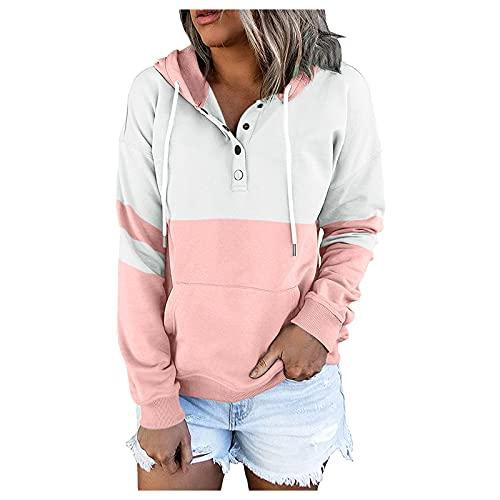 Sudaderas con capucha de bloqueo de color con botones y cordón para mujer, rosa, S