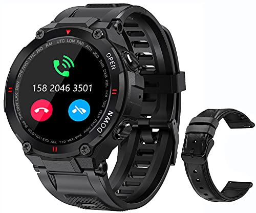 Military Smart Watch for Men Outdoor Waterproof Tactical Smartwatch Bluetooth Dail Calls Speaker 1.3'' HD Touch Screen Fitness Tracker Watch Compatible with iPhone Samsung