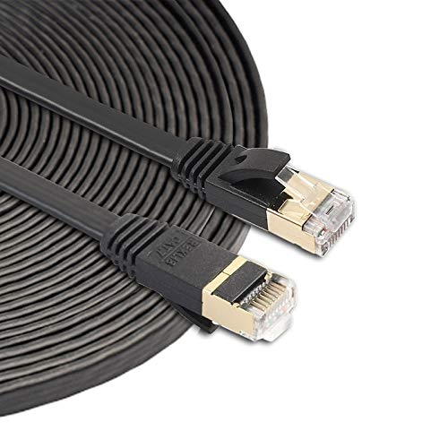QIAOZHOO Cable de 10m CAT7 10 Gigabit Ethernet Ultra Flat Patch for módem Router LAN Network - Construido con Conectores RJ45 Blindados (Negro) (Color : Black)