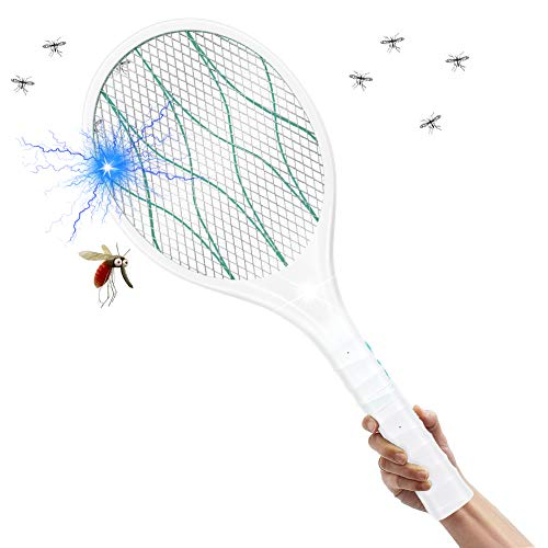 comprar EXTSUD electric fly swatter electric fly swatter USB rechargeable mosquito bat, LED lighting, removable handle, 2-layer mesh protection calidad precio