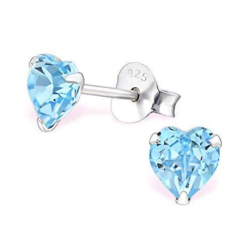 Monkimau Mädchen Ohrringe Herz Ohrstecker aus 925 Sterling Silver echt Silber mit 2 Swarovski Kristallen (hellblau)