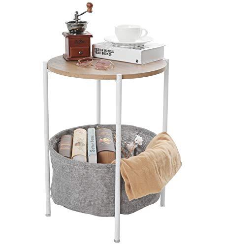 Bandeja de metal Mesa auxiliar Mesa auxiliar Bandeja redonda Bandeja extraíble para bebidas al aire libre e interior Mesa de café Mesa de teléfono (madera blanca)