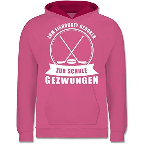 Shirtracer Sport Kind - Zum Eishockey geboren. Zur Schule gezwungen - 128 (7/8 Jahre) - Rosa/Fuchsia - Statement - JH003K - Kinder Kontrast Hoodie
