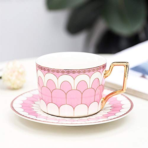 British Style Luxe Marokkaanse Koffie kop en schotel set met Gold Handel Ceramic Cappuccino Afternoon Tea Cup 250ml (Color : NianYu Pink)