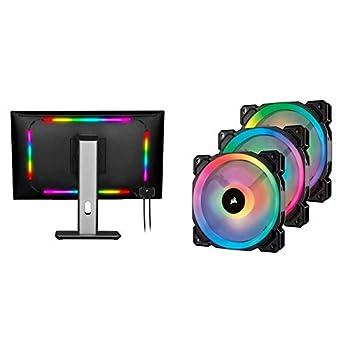 Corsair iCUE LS100 LED Smart Lighting Strip Starter Kit & LL Series LL120 RGB 120mm Dual Light Loop RGB LED PWM Fan 3 Fan Pack with Lighting Node Pro  CO-9050072-WW