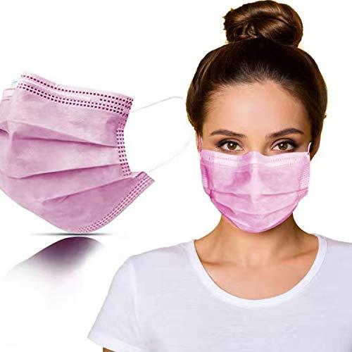 SYMTEX 50 Stück Mundschutzmasken 3-lagig Masken Mundschutz Gesichtsmaske Einwegmaske mund und nasenschutz (Pink)
