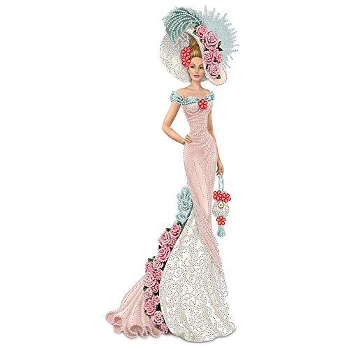 5D Diamond Painting Kit Completo Drill, Seawang Pittura a Diamante Kit Completo, Elegante Vestito Signora del Fumetto Rosa Flori Dress, Kit fai-da-te per Pittura 5D con Strass, Canvas Picture, 30*60cm