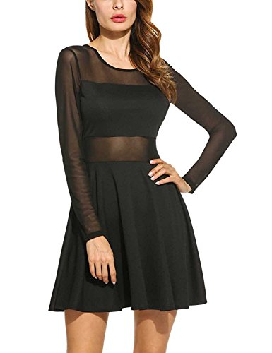 AFCastle Fetching Women's Sheer Mesh Patchwork High Waist Cocktail Party Mini Skater Dress,Black,S Black1Small