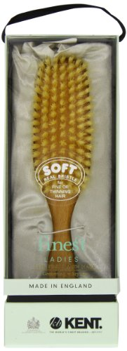 Kent LS9D Ladies Finest Hair Brush for Women - Boar Bristle Hair Brush Made of Satinwood and Soft Boar Bristle for Thin Hair - Luxury Royal Styling Brush, Straightening Brush, and Smoothing Brush