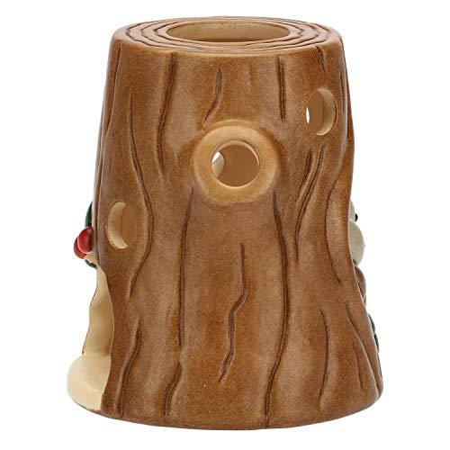 THUN ® - Porta Candela - a Forma di Tronco con pettirossi - Linea Preludio d'inverno - Ceramica - Candela Non Inclusa - 11x10,4x9,8 cm
