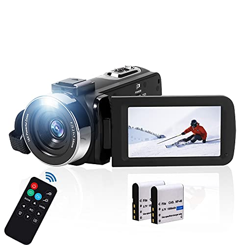 Video Camera Camcorder Digital Camera Recorder Full HD 2.7K 30FPS 42MP Camcorder for YouTube 3.0 Inch 270 Degree Rotation LCD 18X Digital Zoom Camera with Remote Control and 2 Batteries