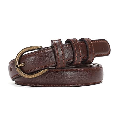 XIN NA RUI Cinturón de piel para mujer, correa de piel, para hombre, hebilla de metal con hebilla de alfiler, cinturón femenino (color: chocolate, tamaño: 120 cm)