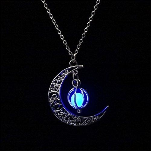 Hosaire, 1 collana alla moda retrò, a forma di luna luminosa, con ciondolo a forma di zucca, per Halloween, Rame, Blu, medium