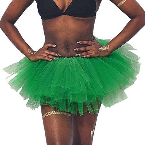 REETAN Ballet Tutu Skirt Tulle Elastic Dance Skirt Six-Layered Tutu Skirts Fashion Performance Costume for Women and Girls(Green)