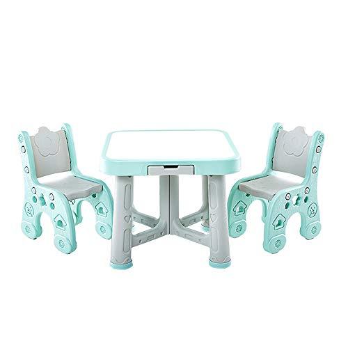 LERDBT Los escritorios de los niños Actividad Tabla Niños Establece 2 sillas Kids Play Room Mesa Juego de sillas para Junior Muchachos de Las niñas (Color : Blue, Size : 63x51/59x27cm)