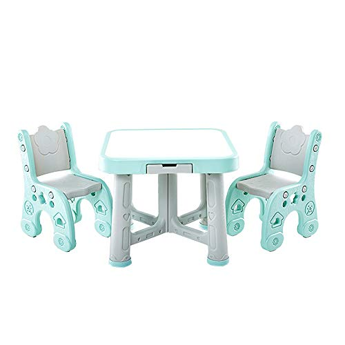 Sumferkyh Rehausseur de Poche Kids Play Chambre Table Et Chaises Activité Enfants Sets De Table 2 Chaises (Couleur : Bleu, Taille : 63x51/59x27cm)