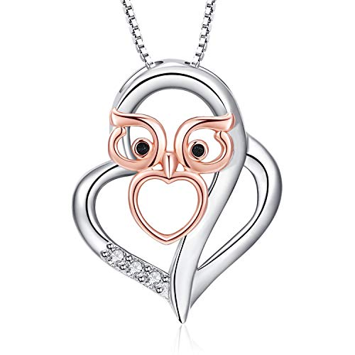 RED TREE Heart Necklace for Womens, S925 Sterling Silver Owl Heart Pendant Necklace with 3 Cubic Zirconia Stone, Comes with Elegant Flannel Jewelry Box, Perfect Gifts for Women Mother's Day (#Style 1)
