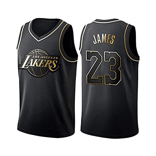 EJKDF Jersey für Lébrón Jámés # 23 Lákerś, Basketball-Shirt Uniformen Straße Outdoor Trendy Atmungsaktive Mesh Sportswear Black Gold-XL