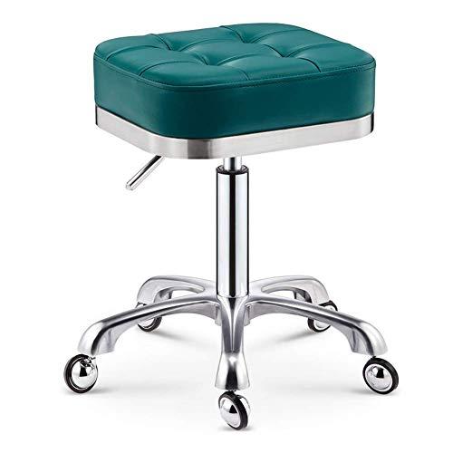 QLIGAH Taburete de salón Ajustable Giratorio Multiusos, sillón de Taburete de Rollo Redondo de Cuero de PU, Oficina de Tatuaje de salón de Belleza de salón de SPA