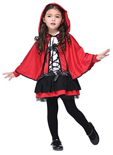 Bigood Costumes Déguisement Cospaly Le Petit Chaperon Rouge pour Enfant Fille pour Halloween XL