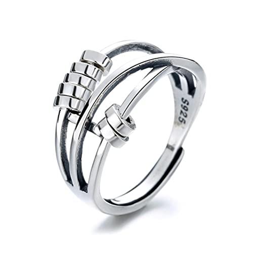Anillo de plata de ley 925 para aliviar el estrés y la paz, para transferir la ansiedad, anillo abierto para mujeres y mujeres