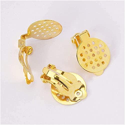 LiuliuBull 50 unids Oro y Plata Oreja Pendiente Pendiente Orificio Deflector Blanco cabujón Conjunto de componentes Base encontrados (Color : Gold Silver)