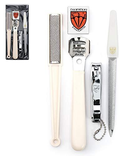 3 Swords Germany - Set de pedicura - cortacallos, 10 hojas de recambio, lima de uñas, raspador de durezas, cortaúñas, podología - Made in Solingen/Germany (7513)