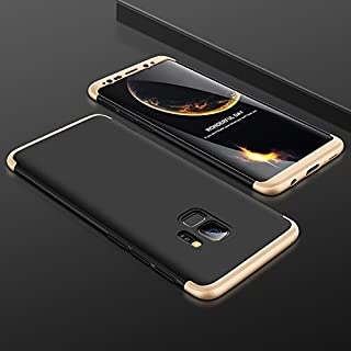 samsung Galaxy S9 plus Case. Creative Scrub 3-in-1 Mobile Phone Set 360 360 Full Protection Cover Case - black & gold