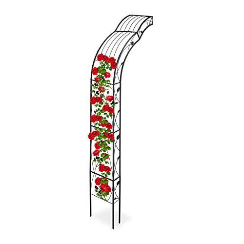 Relaxdays Arco Semicircolare per Rose, Montaggio a Parete, Decorato, per Rampicanti, Ferro, HLP 256 x 39 x 72 cm, Nero
