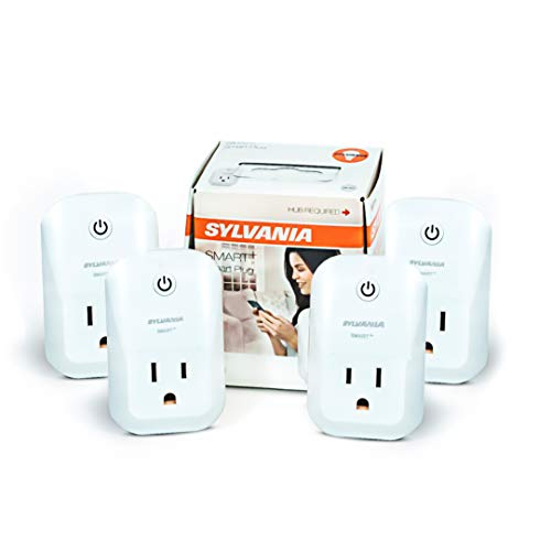 SYLVANIA General Lighting 75591 Sylvania ZigBee Indoor Smart Plug, Works with SmartThings, Wink, Echo Plus, Hub Needed for Amazon Alexa and The Google Assistant, 4 Pack