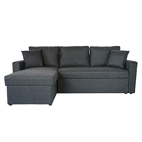 BHDesign Sasha - Canapé d'angle Convertible réversible 4 Places - Tissu - Gris foncé