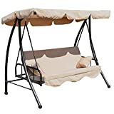 Outsunny Outdoor 2-in-1 Patio Swing Chair Lounger 3 Seater Garden Bench Hammock Bed Convertible Tilt Canopy W/Cushion, Beige